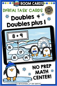 Addition Doubles and Double Plus One - Penguin Paradise Learning Cards, Learning Resources, Teaching Math, Teaching Ideas, Creative Teaching, Addition Strategies, Thing 1, Primary Maths, Second Grade Math
