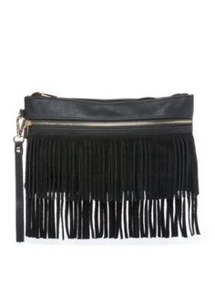 Crafted with stylish fringe detailing, this trend-right wristlet is a must-have for your collection.