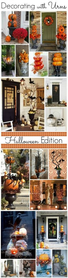 Halloween Ideas Decorating with Urns www.foxhollowcottage.com