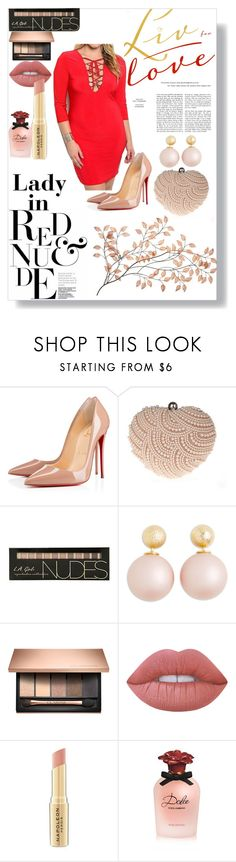 """""""Lady in red and nude"""" by plussizeforless ❤ liked on Polyvore featuring Christian Louboutin, Glam Cham, Lime Crime, Napoleon Perdis and Dolce&Gabbana"""