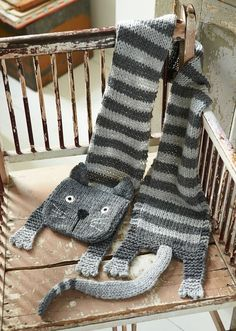 Free knitting pattern for Tabby Cat Scarf and more cat knitting patterns                                                                                                                                                                                 More
