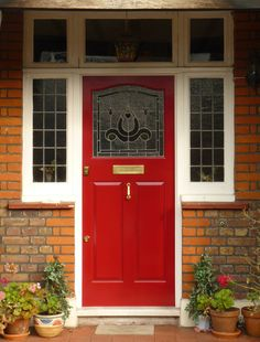 101 Ideas for Red Front Door. Many people choose red front door paint for their house. Unique Front Doors, Grey Front Doors, Wooden Front Doors, Exterior Front Doors, Front Door Colors, Glass Front Door, Red Doors, Exterior Paint, Front Door Porch