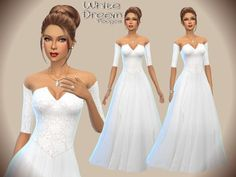White Dream wedding dress by Paogae at TSR via Sims 4 Updates