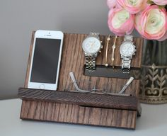 Oak Wood Valet iphone Galaxy Charging Stand Nightstand Dock by pinkofperfect on…
