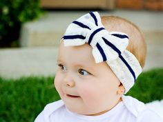 Navy and Cream Striped Head Wrap: Navy Stripes on Cream Lace Knit Head Wrap with Bow on Etsy, $12.00