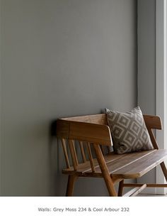 the perfect grey paint grey hall with wooden bench. Wall painted in grey moss from Little Greenegrey hall with wooden bench. Wall painted in grey moss from Little Greene Little Greene Paint Company, Shades Of Grey Paint, Grey Paint Colors, Little Greene Farbe, Peinture Little Greene, Moss Paint, Grey Hall, Interior Walls, Interior Design
