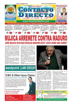 PERIODICO CONTACTO DIRECTO EDICIÓN 20 DE MAYO  Semanario Contacto Directo Edición 20 de Mayo VANCOUVER CANADA