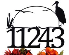 Outdoor House Number Metal Sign with Heron and Cattails - Black, 17x13 by Refined Inspirations