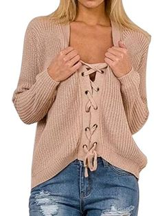0b3e5639be39d6 Joeoy Women's Lace Up Front V Neck Long Sleeve Knit Sweater Jumper Beige  Sweater, Ribbed