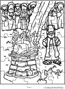 Elijah and the altar at mt carmel msss bible collage for Elijah baal coloring page