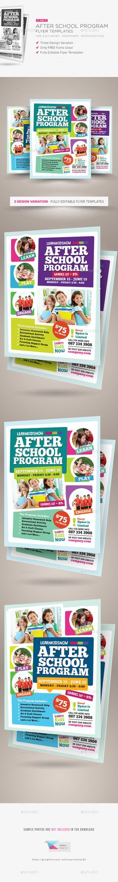 After School Program Flyer Template PSD #design Download: http://graphicriver.net/item/after-school-program-flyer-templates/14518919?ref=ksioks