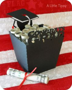 NEED GRAD GIFT: Heres a cute wat to give them money! Like the rolled money w/ribbon maybe with a card attached...