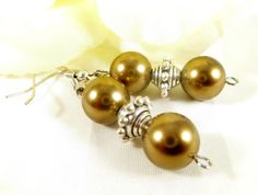 Gold Pearl Dangle Beaded Earrings with Silver Accents   Boho Chic Spring Trends  Womens Jewelry For Her (14.00 USD) by EnchantedRoseShop