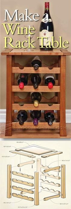 Wine Rack Table Plans - Furniture Plans and Projects - Woodwork, Woodworking, Woodworking Plans, Woodworking Projects Easy Wood Projects, Easy Woodworking Projects, Furniture Projects, Diy Furniture, Woodworking Bench, Project Ideas, Wine Rack Table, Wine Racks, Woodworking Furniture Plans