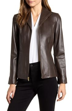 Cole Haan Wing Collar Leather Jacket In Espresso Coats For Women, Jackets For Women, Clothes For Women, Leather Jackets Online, Lambskin Leather Jacket, Tailored Jacket, Cole Haan, Espresso