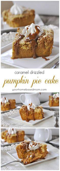 Fall Baking | Caramel Drizzled Pumpkin Pie Cake