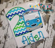 Adorable little Blue bus Birthday shirt by AChapmanCreations