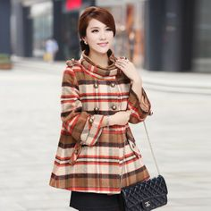 2013 winter fashion plaid thickening double breasted medium long cloak wool coat outerwear cape-inWool & Blends from Apparel & Accessories o...
