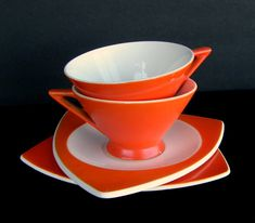 Atomic Art Deco Cups & Saucers: Set of 2 by SusabellaBrownstein