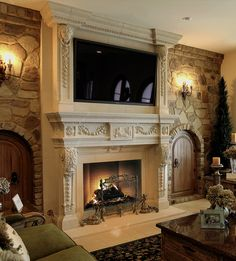 See our Stone Fireplace Mantel & Overmantel Image Gallery in real furnished homes to help you decide which stone mantel or kitchen hood will fit yours. Fireplace Mantel Surrounds, Stone Fireplace Mantel, Brick Fireplace Makeover, Home Fireplace, Marble Fireplaces, Fireplace Design, Fireplace Gallery, Stone Fireplaces, Fireplace Ideas