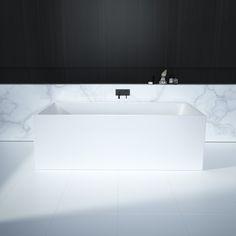 Caroma Liano Freestanding Bath #bathroom #caroma #design #styling #decor #marble #blacktapware #inspiration #beautiful #whitetiles #monochrome