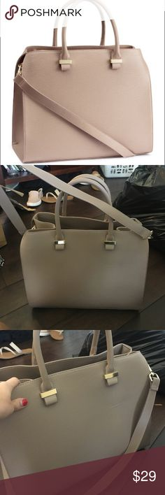 NWOT H&M Taupe Handbag Beautiful Handbag that looks way nicer than H&M!!! Never used. Comes with long strap! H&M Bags