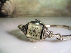 1940s, BENRUS Wrist Watch, 10K RGP Wrist Watch, Diamond Wrist Watch, Ladies Wrist Watch, Art Deco Watch,Mechanical Watch,Vintage Wrist Watch by CarolsVintageJewelry on Etsy