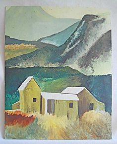 """Western mountain peaks against a purple sky, and a field of wild flower, bordering a deep blue lake. Titled on reverse """" Nothing but flowers"""". Cubist Paintings, Art Paintings For Sale, Small Paintings, Landscape Paintings, Painting Collage, Painting On Wood, Watercolor Barns, Art Vintage, Mountain Paintings"""