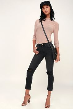The Billabong Cheeky Washed Black High Rise Distressed Jeans are sure to become a staple in your closet! Washed black jeans with fading and distressing. Clothes For Sale, Clothes For Women, Discount Womens Clothing, Affordable Fashion, High Waist Jeans, Distressed Jeans, Black Denim, Capri Pants, Billabong