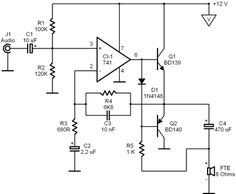 Audio Amplifier, Electronics Projects, Circuits, Diy, Electronic Circuit, Electronic Schematics, Log Projects, Engineering, Bricolage