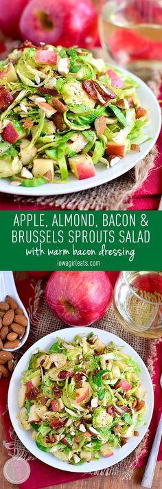 Apple, Almond, Bacon and Brussels Sprouts Salad with warm bacon dressing is a fresh and springy salad with lots of crunch! #glutenfree | iowagirleats.com