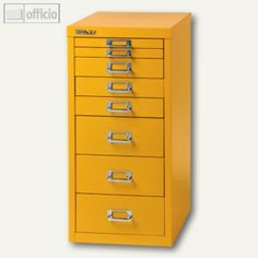 Bisley Schubladenschrank DIN A4, 8 versch. Schubgrößen, gelb, L298-102, - Büroartikel bei officio.de