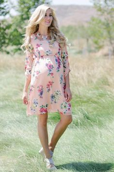 ca1f730a28a5 Peach Floral Print 3 4 Sleeve Dress  pregnancydress