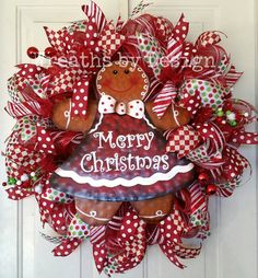 Christmas Gingerbread Girl Deco Mesh Door by WreathsbyDesign1