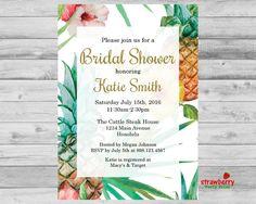 Tropical breeze bridal shower invitations dohl pinterest tropical bridal shower invitation hawaiian aloha luau summer wedding shower invitation gold pineapple plumeria printable file b75 filmwisefo