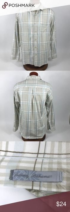 """TOMMY BAHAMA 100% SILK PLAID BUTTON UP SHIRT SZ L Great looking 100% Silk Plaid Button Up from Tommy Bahama! Men's size large. Actual measurements below. Long sleeve with tan and beige plaid design. Great Condition! No stains, rips, or holes!  Measurements: Pit to Pit: 23"""" Sleeve Length: 24"""" Total Length: 29.5  Thank you for looking and please check out my other high quality men's products! Tommy Bahama Shirts Casual Button Down Shirts"""