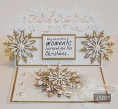 Jo Mckelvey - Snowflake Edge'able - Sheenas white card - Kraft card - Die'sire Snowflake die - Die'sire sentimentals stamp - Embossing folder: Nordic Christmas Diamond Snowflake - #crafterscompanion #Christmas
