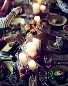 Getting together and eating with friends and family