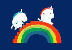 Unicorn on rainbow slide Art Print