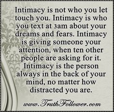 Truth Follower: Intimacy is not who you let touch you