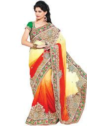 Yellow coloured embroidered saree for women by Fabdeal. Made from jaquard, this saree measures 5.5 m in length, and comes with unstitched blouse piece of 0.8 m.