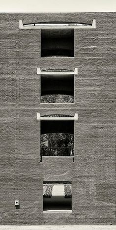 Brick window details by Louis Kahn at the Indian Institute of Management Ahmedabad, Ahmedabad, India