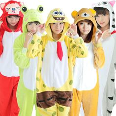 5 Styles All in One flanelle Anime Pijama Cartoon Cosplay chaud capot Onesies