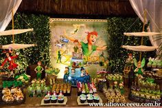 Amazing dessert table at a Peter Pan birthday party! See more party planning ideas at CatchMyParty.com!