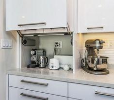 Smart Creative Hidden Kitchen Storage Design You Must Have - Paradise Home Kitchen Appliance Storage, Kitchen Storage Solutions, Diy Kitchen Storage, Small Kitchen Appliances, Kitchen Pantry, New Kitchen, Small Kitchens, Bathroom Storage, Appliance Garage