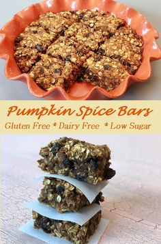 Delicious and moist Pumpkin Spice Oatmeal Bars that are gluten-free, dairy free, low fat, and low sugar! Healthy and yummy, a good combination. Easy Gluten Free Desserts, Sugar Free Desserts, Sugar Free Recipes, Diabetic Desserts, Diabetic Recipes, Pumpkin Deserts, Pumpkin Recipes, Best Dessert Recipes, Sweet Recipes