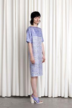 Veronique Branquinho | Resort 2015 | 06 Blue/white striped short sleeve midi dress