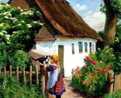 By Hans Andersen Brendekilde, from Funes, Denmark ( 1857 - Happy Merry Christmas, Christmas 2019, Urban Landscape, Beautiful Paintings, Country Life, Country Women, Summer Days, Art For Kids, Art Gallery