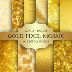 Gold Pixel Mosaic Digital Paper  gold texture by ItGirlDigital