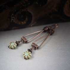 Rustic Earrings • Tribal • Handforged Copper • Green Flowers • Wire Wrapped • Triangle • Glass Flower • Hand Made Jewelry • Hand Made